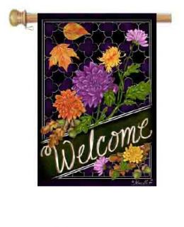 "Outdoor Decorative Garden or House Flag - Welcome Mums (Flag size: 28"" x 40"")"