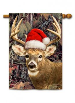 "Outdoor Decorative Garden or House Flag - Deer Santa (Flag size: 28"" x 40"")"
