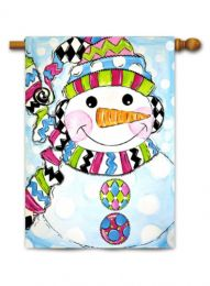 "Decorative House & Garden Flag or Doormat - Whimsy Snowman (Select Flag or Doormat: 28"" x 40"")"