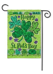 "Outdoor Decorative Garden or House Flag - Clover Trio (Flag size: 12.5"" x 18"")"