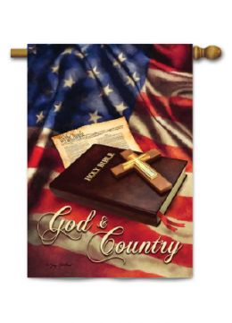 "Outdoor Decorative Garden or House Flag - God & Country (Flag size: 28"" x 40"")"