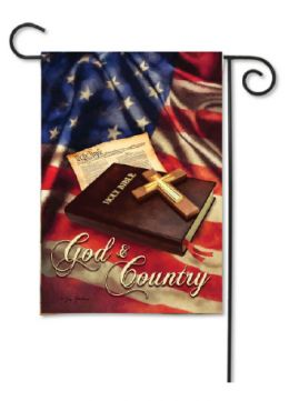 "Outdoor Decorative Garden or House Flag - God & Country (Flag size: 12.5"" x 18"")"