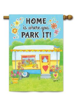 "Outdoor Decorative Garden Flag or House Flag - Camper Home (Flag size: 28"" x 40"")"
