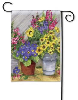 "Blossom Bucket Spring Decorative Doormat and Flag Collection. (Select Flag or Doormat: 12.5"" x 18"")"