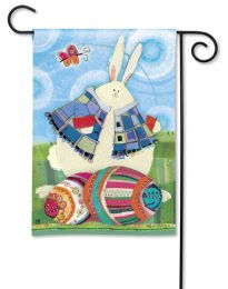 "Funny Bunny Easter Spring Holiday Flag and Doormat Collection (Select Flag or Doormat: 12.5"" x 18"")"