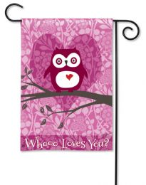 "Who Loves You Valentine's Owl Garden or House Flag (Flag size: 12.5"" x 18"")"