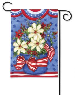 "American Beauty Patriotic Floral Flag & Mat Collection (Select Flag or Doormat: 12.5"" x 18"")"