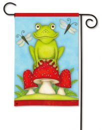 "Spring Seasonal Happy Frog Garden Flag and Welcome Mat (Select Flag or Doormat: 12.5"" x 18"")"