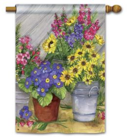 "Blossom Bucket Spring Decorative Doormat and Flag Collection. (Select Flag or Doormat: 28"" x 40"")"