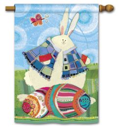 "Funny Bunny Easter Spring Holiday Flag and Doormat Collection (Select Flag or Doormat: 28"" x 40"")"