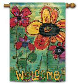 "Garden Welcome Spring Seasonal Decorative Flag & Mat Collection (Select Flag or Doormat: 28"" x 40"")"