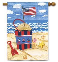"Shining Sea Patriotic Garden or House Flag & Doormat (Select Flag or Doormat: 28"" x 40"")"