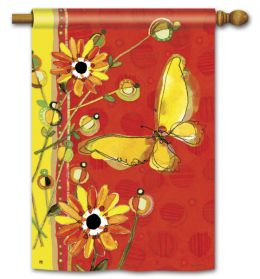 "Yellow Butterfly Seasonal Garden or House Flag and Doormat (Select Flag or Doormat: 28"" x 40"")"