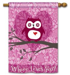 "Who Loves You Valentine's Owl Garden or House Flag (Flag size: 28"" x 40"")"