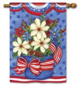 "American Beauty Patriotic Floral Flag & Mat Collection (Select Flag or Doormat: 28"" x 40"")"