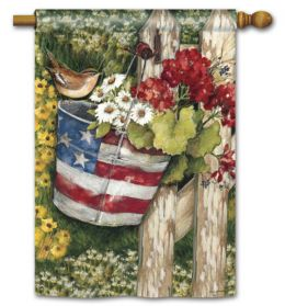 "Patriotic Pail Summer Holiday Flag & Doormat Collection (Select Flag or Doormat: 28"" x 40"")"