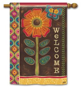 "Gypsy Garden Spring Decorative Welcome Flag & Mat Collection (Select Flag or Doormat: 28"" x 40"")"