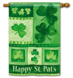 "Decorative House & Garden Flag or Doormat - Shamrock Collage (Select Flag or Doormat: 28"" x 40"")"