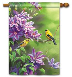 "Finch Pair Spring Seasonal Decorative Garden & House Flag (Flag size: 28"" x 40"")"