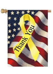 "Patriotic Thank You Ribbon Garden or House Flag (Flag size: 28"" x 40"")"