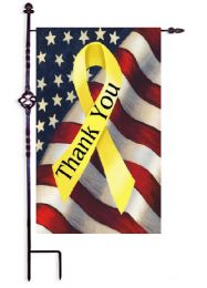 "Patriotic Thank You Ribbon Garden or House Flag (Flag size: 12.5"" x 18"")"