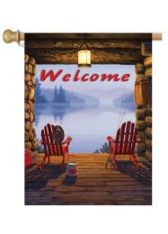 "Welcome to the Lake Summer Garden or House Flag (Flag size: 28"" x 40"")"