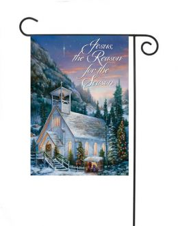 "Country Church Holiday Seasonal Winter Garden or House Flag (Flag size: 12.5"" x 18"")"