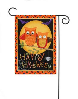 "Outdoor Decorative Garden or House Flag - Happy Owl-oween (Flag size: 12.5"" x 18"")"