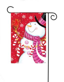 "Outdoor Decorative Garden or House Flag - Pink Scarf Snowmen (Flag size: 12.5"" x 18"")"